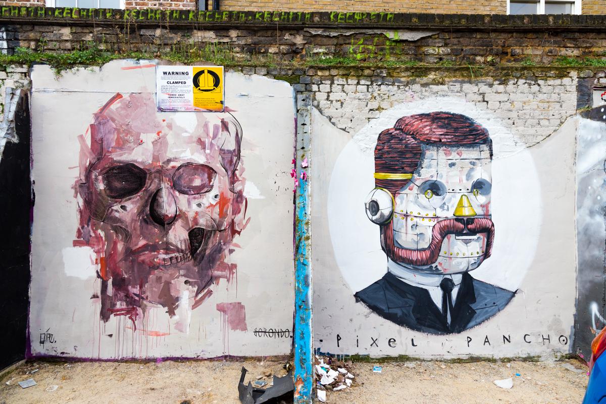 Alexis Diaz, Borondo et Pixel Pancho, Londres - Mars 2014